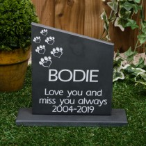 Black Slate Large angle headstone with a plinth