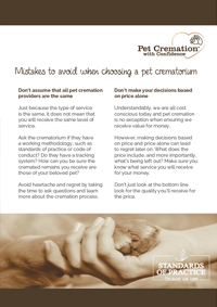 Mistakes to avoid when choosing a Pet Crematorium